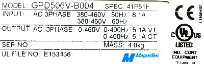 New Refurbished Exchange Repair  Magnetek Inverter-General Purpose GPD506V-B004 Precision Zone
