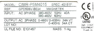New Refurbished Exchange Repair  Magnetek Inverter-General Purpose GPD506V-B034 Precision Zone