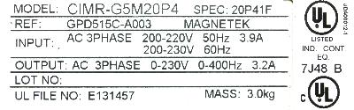 New Refurbished Exchange Repair  Magnetek Inverter-General Purpose GPD515C-A003 Precision Zone