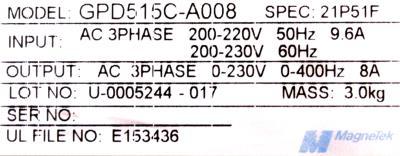 Magnetek GPD515C-A008 label image