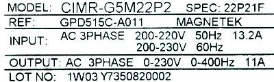 Magnetek GPD515C-A011 label image