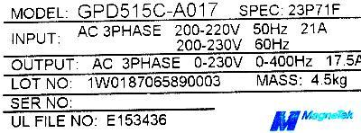 Magnetek GPD515C-A017 label image
