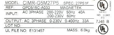 Magnetek GPD515C-A033 label image