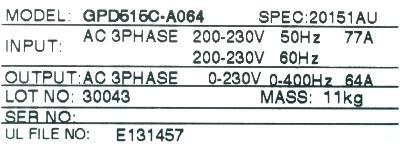 Magnetek GPD515C-A064 label image