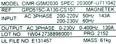Magnetek GPD515C-A130 label image
