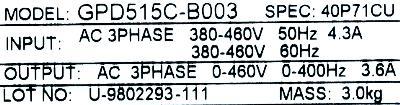 Magnetek GPD515C-B003 label image