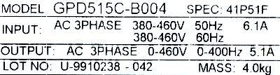 Magnetek GPD515C-B004 label image