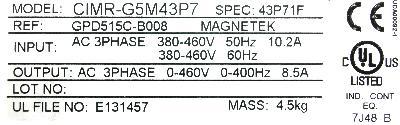 Magnetek GPD515C-B008 label image