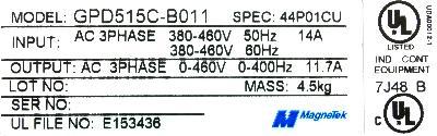 Magnetek GPD515C-B011 label image