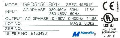 Magnetek GPD515C-B014 label image