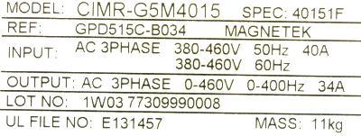 Magnetek GPD515C-B034 label image