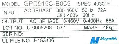 Magnetek GPD515C-B065 label image