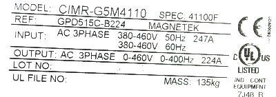 New Refurbished Exchange Repair  Magnetek Inverter-General Purpose GPD515C-B224 Precision Zone