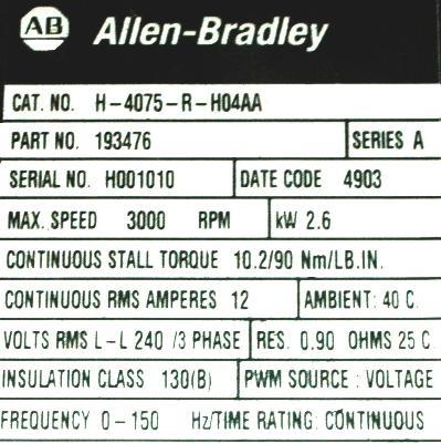 Allen-Bradley H-4075-R-H04AA Motors-AC Servo