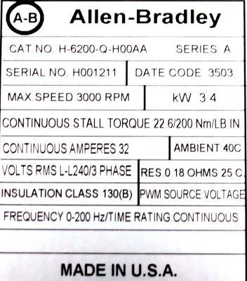 Allen-Bradley H-6200-Q-H00AA Motors-AC Servo