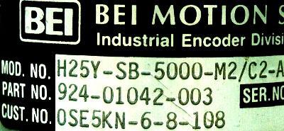 BEI ELECTRONICS H25Y-SB-5000-M2-C2-ABZC-75158-LED-SM22 label image