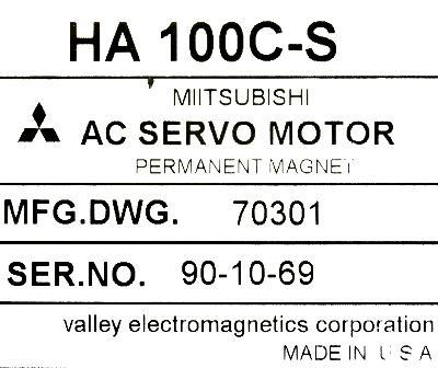 Mitsubishi HA100C-S label image