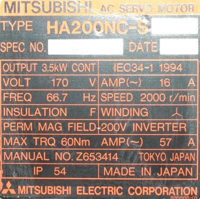 Mitsubishi HA200NC-S label image