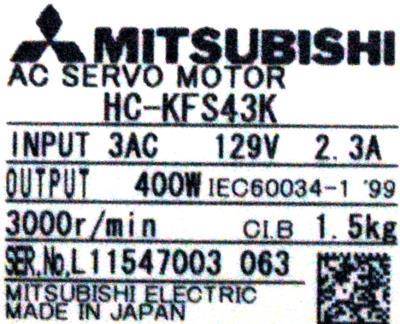 Mitsubishi HC-KFS43K label image