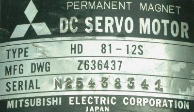 New Refurbished Exchange Repair  Mitsubishi Motors-DC Servo HD81-12S Precision Zone