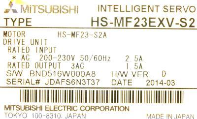 Mitsubishi HS-MF23EXV-S2 label image