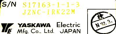 Yaskawa JZNC-IRK22M label image