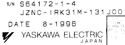 Yaskawa JZNC-IRK31M-131J00 label image