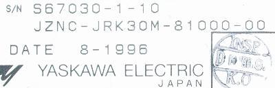Yaskawa JZNC-JRK30M-81000-00 label image