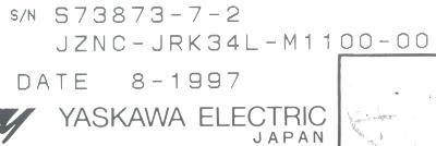 Yaskawa JZNC-JRK34L-M1100-00 label image