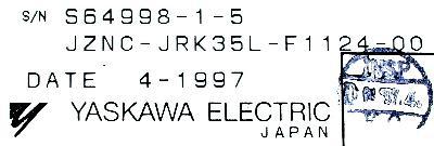 Yaskawa JZNC-JRK35L-F1124-00 label image