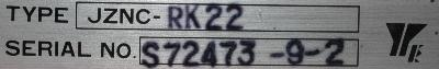 Yaskawa JZNC-RK22 label image