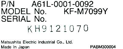 Matsushita KF-M7099Y label image