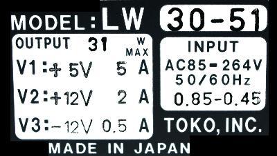Toko Inc LW30-51 label image