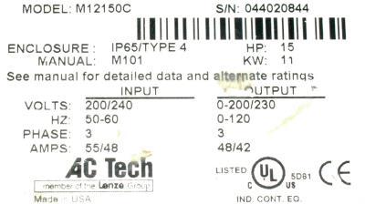 AC Technology Corp M12150C label image