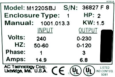 AC Technology Corp M1220SBJ label image