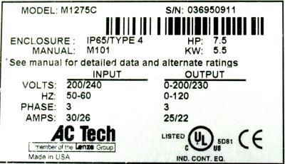 AC Technology Corp M1275C label image