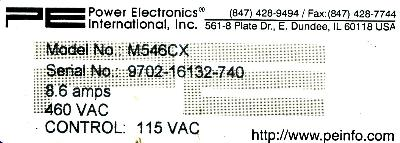 Power Electronics M546CX label image