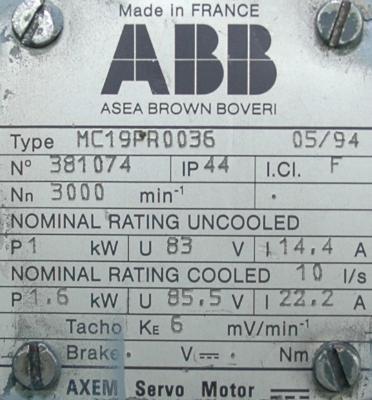 ABB MC19PR0036 Motors-AC Servo
