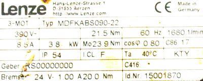 LENZE MDFKABS090-22 label image