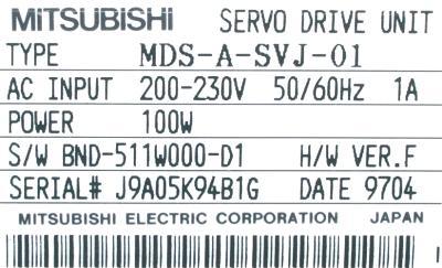 Mitsubishi MDS-A-SVJ-01 label image