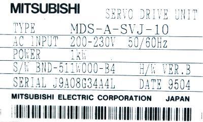 Mitsubishi MDS-A-SVJ-10 label image