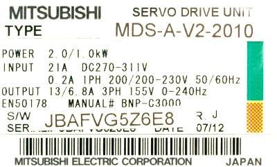 Mitsubishi MDS-A-V2-2010 label image