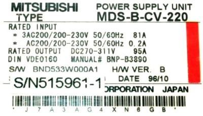 Mitsubishi MDS-B-CV-220 label image