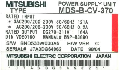 Mitsubishi MDS-B-CV-370 label image