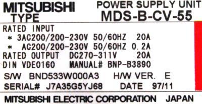 Mitsubishi MDS-B-CV-55 label image