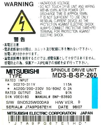 Mitsubishi MDS-B-SP-260 label image