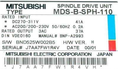 Mitsubishi MDS-B-SPH-110 label image