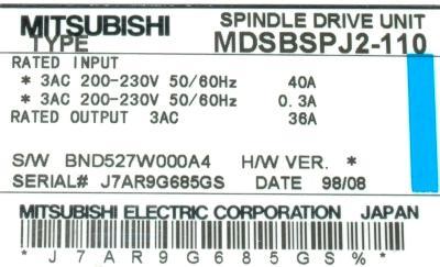 Mitsubishi MDS-B-SPJ2-110 label image