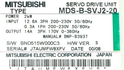 Mitsubishi MDS-B-SVJ2-20 label image