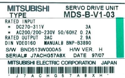 Mitsubishi MDS-B-V1-03 label image